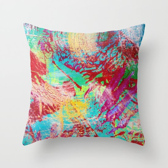 REEF STORM - Fun Bright BOLD Playful Rainbow Colors Underwater Ocean Reef Theme Coral Aquatic Life Throw Pillow