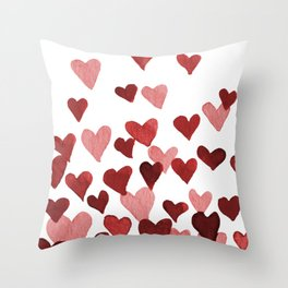 Valentine's Day Watercolor Hearts - red Throw Pillow