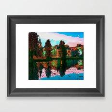 village on the lake Framed Art Print