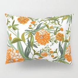 Orange Spring Summer Flowers Boho Pillow Sham