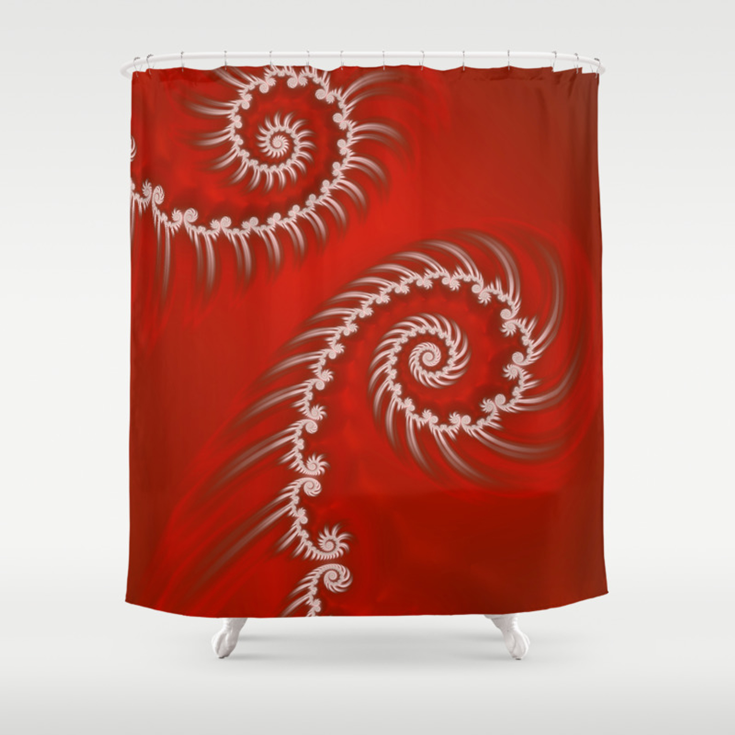 Red And White Striped Swirl Fractal Art Shower Curtain