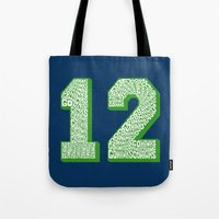 seahawks Tote Bags featuring Go Hawks 12_1 by Nuart Media Group