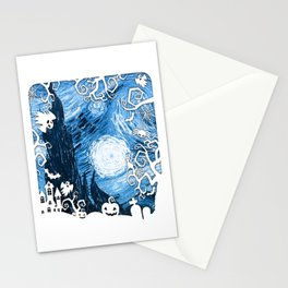 Halloween in Starry Night Stationery Cards