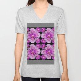 Black-Grey Color Abstracted Modern Purple Moth Orchids Unisex V-Neck