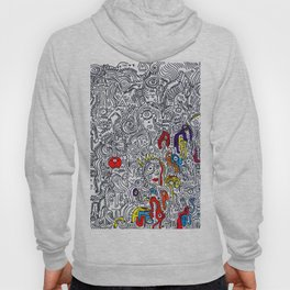Pattern Doddle Hand Drawn  Black and White Colors Street Art Hoody