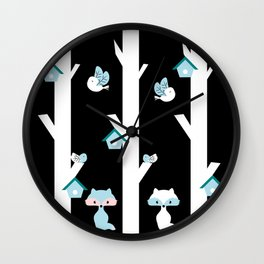 Foxes and birds at night Wall Clock