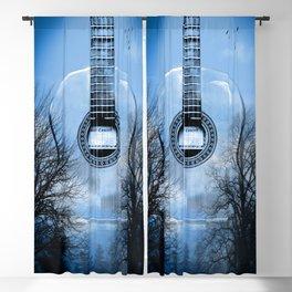 music blue Blackout Curtain