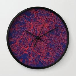 Jerusalem, Israel, Blue, White, City, Map Wall Clock