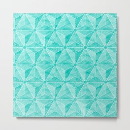 Geodesic Palm_Turquoise Metal Print