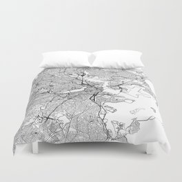 Boston White Map Duvet Cover