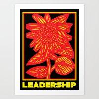 Hogatt Sunflower Yellow Red Black Art Print