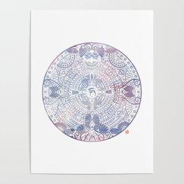 deer mandala (white) Poster