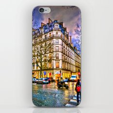 Rainy evening in Paris, France iPhone & iPod Skin