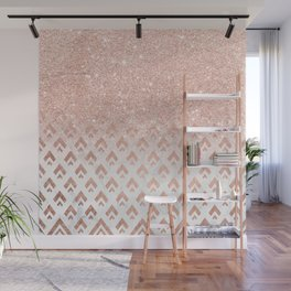 Faux rose gold glitter ombre rose gold foil triangles chevron geometric on white marble Wall Mural