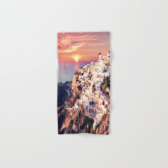 Santorini Sunset View Hand & Bath Towel
