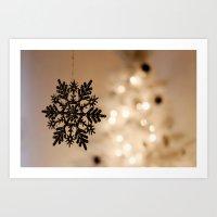 snowflake Art Prints featuring Snowflake by Katie Estes