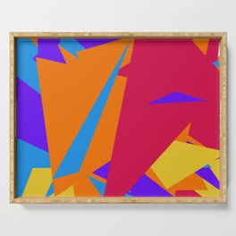 Crzy Modern Triangles - Old Rose, Tahiti Gold, Cornflower Blue Serving Tray