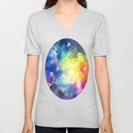 Colorful clouds Unisex V-Neck