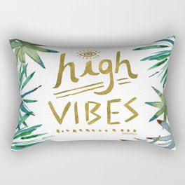 HIGH VIBES Tropical Leaves Gold Rectangular Pillow