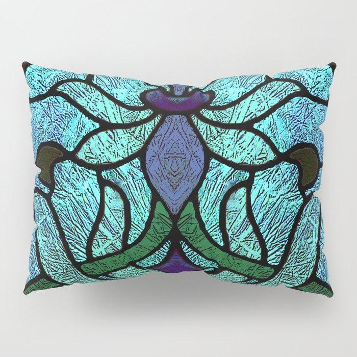 Aqua Green and Blue Art Nouveau Stained Glass Design Pillow Sham