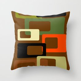 Mid Century Modern Earth Tone Cubes Print Throw Pillow