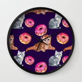 Kittens and donut Wall Clock