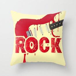 Melting Electric Rock Guitar Throw Pillow