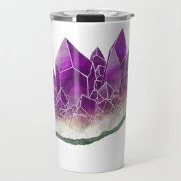 Amethyst- February birthstone crystal specimen painting Travel Mug