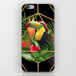 Bold Golden Geometric Tropical Bouquet With Toucan iPhone Skin