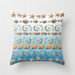 Caribbean Shells on Ibiza Blue Throw Pillow