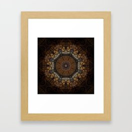 Rich Brown and Gold Textured Mandala Art Framed Art Print