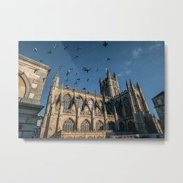 Birds flying over Bath Abbey in England Metal Print