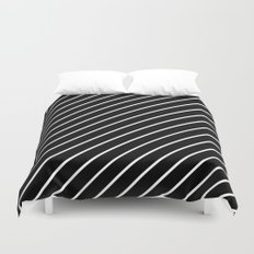 Hot 80s Style Diagonal Black and White Geometric Pattern Duvet Cover