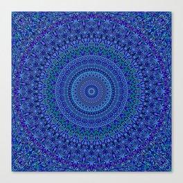 Blue Floral Ornate Mandala Canvas Print