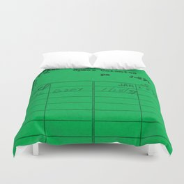 Library Card 797 Green Duvet Cover