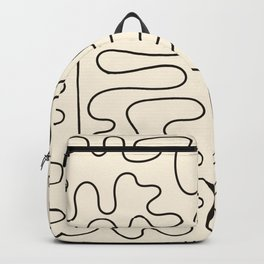 Abstract Lines 2 black and white Backpack