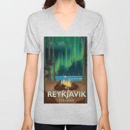 Reykjavik Iceland travel poster Unisex V-Neck
