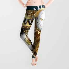 Two Steampunk Clocks with Gears Leggings