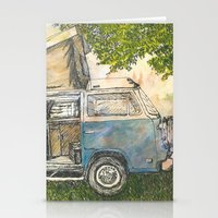 vw bus Stationery Cards featuring VW Camper Bus by Barb Laskey Studio