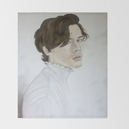 Harry Styles - Portrait in White Throw Blanket