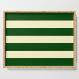 Dark Emerald Green and Cream Large Stripes Serving Tray