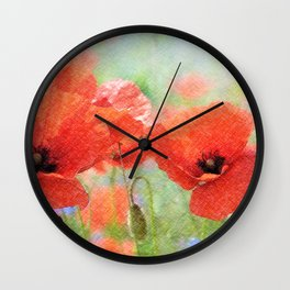 poppies in the meadow 170 Wall Clock