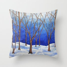 Winter Woods by Mike Kraus - blue white trees forest woods nature snow trails paths beautiful hiking Throw Pillow