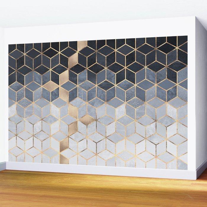 Soft Blue Gradient Cubes Wall Mural