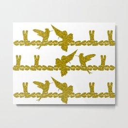 Gold Hummingbirds on Line Chatting Metal Print