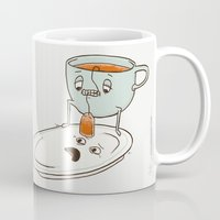 tea Mugs featuring Tea Baggin' by Phil Jones