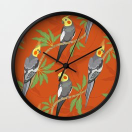 Cockatiel birds diagonal pattern Wall Clock