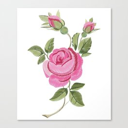 Embroidered rose stylization Canvas Print