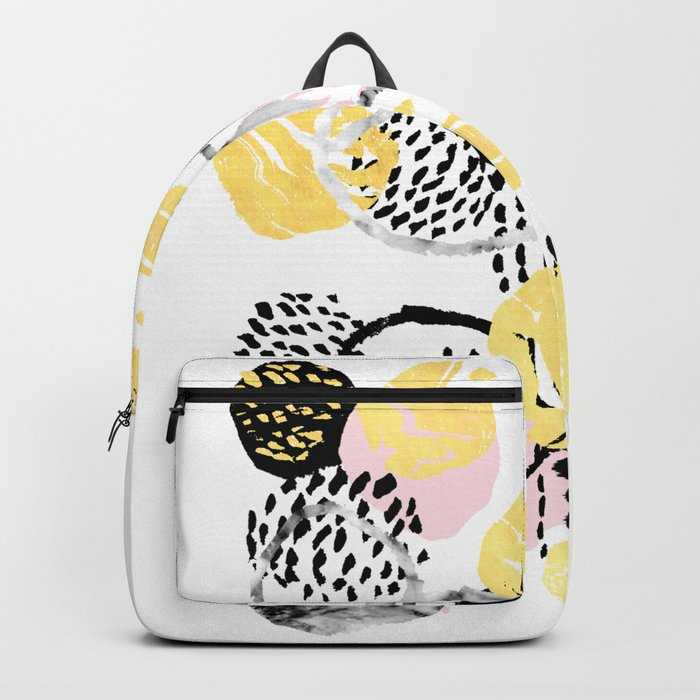 Amalia - gold abstract black and white glitter foil art print texture ink brushstroke modern minimal Backpack