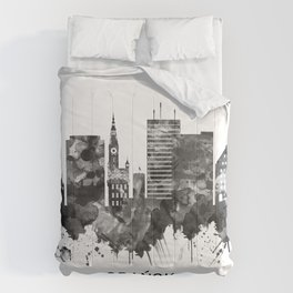 Gdansk Poland Skyline BW Comforters